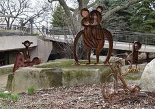 Four Chimpanzee Sculptures. This is an early Spring picture of sculptures of four chimpanzees as part of the Open Center for the Arts Weld Art and Science with stock photos