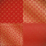 Four Chinese vintage seamless damask wallpaper Royalty Free Stock Image