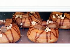 Four Chocolate Donuts Royalty Free Stock Photos