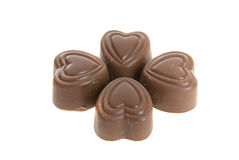 Four Chocolate Hearts Royalty Free Stock Photos