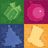 Four christmas background. With stars and balls Royalty Free Stock Photography