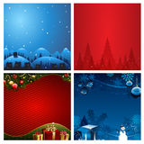 Four Christmas Background vector illustration Stock Photos
