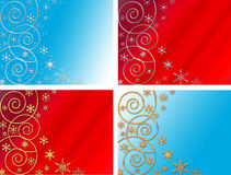Four christmas backgrounds. Curls and snowflakes Royalty Free Stock Photos