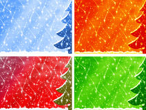 Four christmas backgrounds. Fur-tree and snowfall Royalty Free Stock Image