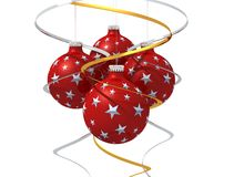 Four christmas ball. Three christmas ball , golden and silver bow on white background background Stock Photography