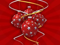Four christmas ball  and bow. Four christmas ball , golden and silver bow on red rays background Stock Images