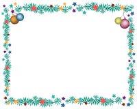 Four Christmas Balls Decoration on Fir Twigs Borde Royalty Free Stock Image