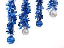 Four christmas balls in diagonal composition. On white background stock photography