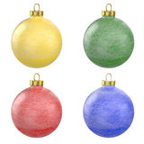 Four christmas balls with frost texture Royalty Free Stock Image