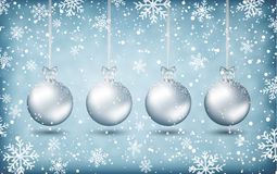 Four christmas balls with ribons Stock Photography