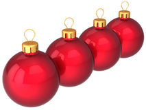 Four Christmas balls in a row (Hi-Res) Stock Photography