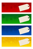 Four christmas banners. Four colorful christmas banners with paper labels Royalty Free Stock Image