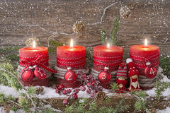 Four christmas candle Stock Images