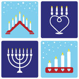 Four Christmas candleholders Stock Images