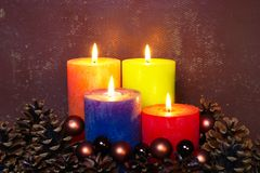 Four Christmas Candles royalty free stock photography
