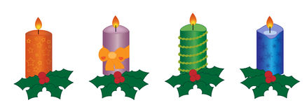 Four christmas candles. Xmas candles - orange with star, purple with bow, decorative green, blue with snow flakes Royalty Free Stock Images