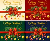 Four christmas cards with different color backgrounds. Illustration Stock Photography