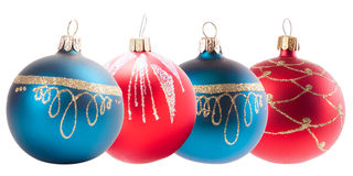 Four christmas decoration ball isolated on white Stock Photos