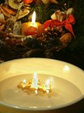 Four christmas floating candle Royalty Free Stock Image