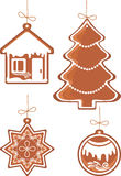 Four Christmas gingerbread Royalty Free Stock Images