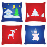 Four christmas pillows Royalty Free Stock Images