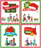Four Christmas Sale Posters Vector Illustration. With people carrying various purchase by hands and wheelbarrows, promotion messages, red pretty hats Stock Photos