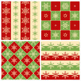 Four Christmas seamless patterns Stock Photography