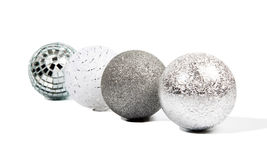 Four Christmas silver balls Stock Image