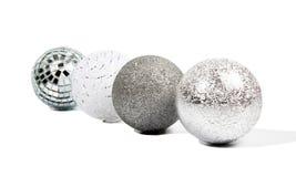 Four Christmas silver balls Stock Image
