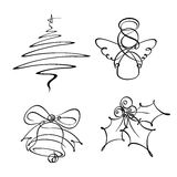 Four Christmas Single Line Icons Royalty Free Stock Photos