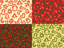 Four Christmas Snakes Seamless Patterns Stock Photography