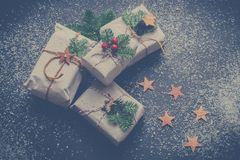Four Christmas-themed Boxes Royalty Free Stock Images