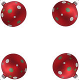Four Christmas Tree Balls. Four red christmas tree balls with spots, isolated on white background Stock Photography