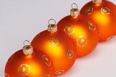 Four christmas tree balls Stock Photos