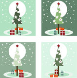Four Christmas Tree with Gifts card Stock Images