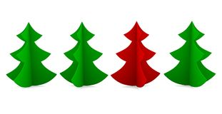Four Christmas tree green and red colors. Royalty Free Stock Image