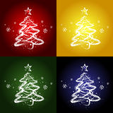 Four christmas trees. Four backgrounds with christmas trees,  illustration Royalty Free Stock Photos