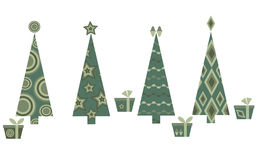 Four Christmas trees Stock Images