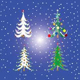 Four christmas trees Royalty Free Stock Photography
