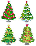 Four christmas trees Stock Photos