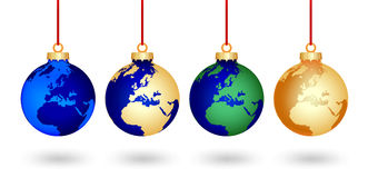 Four christmas world balls. Four christmas balls with a world map covered stock illustration