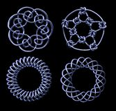 Four Chrome Mathematical Knots - includes clipping path Royalty Free Stock Photos