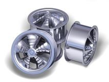 Four chromed helix rims Stock Photo