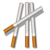 Four cigarettes. Composed on a white background Stock Image