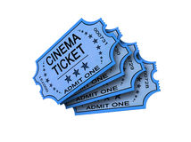 Four Cinema ticket on white. Four Old cinema ticket isolated on white Royalty Free Stock Image