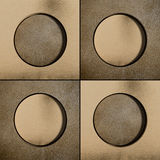 Four circles on bronze background Stock Photography