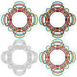 Four circular forms same as a wicker pattern Royalty Free Stock Images