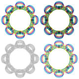 Four circular shapes same as a wicker pattern Stock Photo