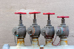 Four citizen. Water hydrants stock photo