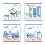 Four City Landscapes Illustrations. Vector Set of Four City Landscapes Illustrations in Thin Line Style. Urban Design Elements - Building Icons Royalty Free Stock Images